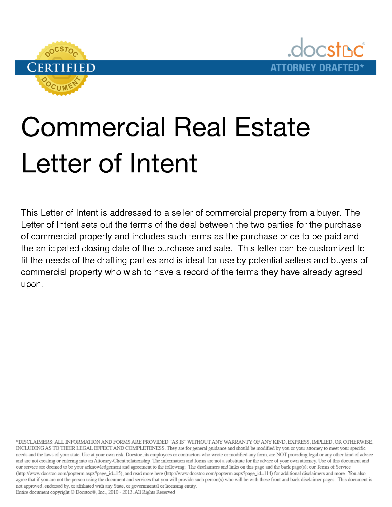 Letter Of Interest To Purchase Property Sample Templates