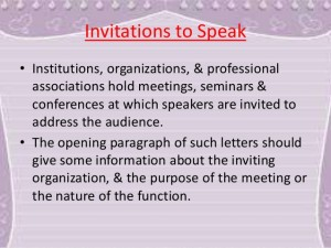 Invitation To Speak For Guest Speaker