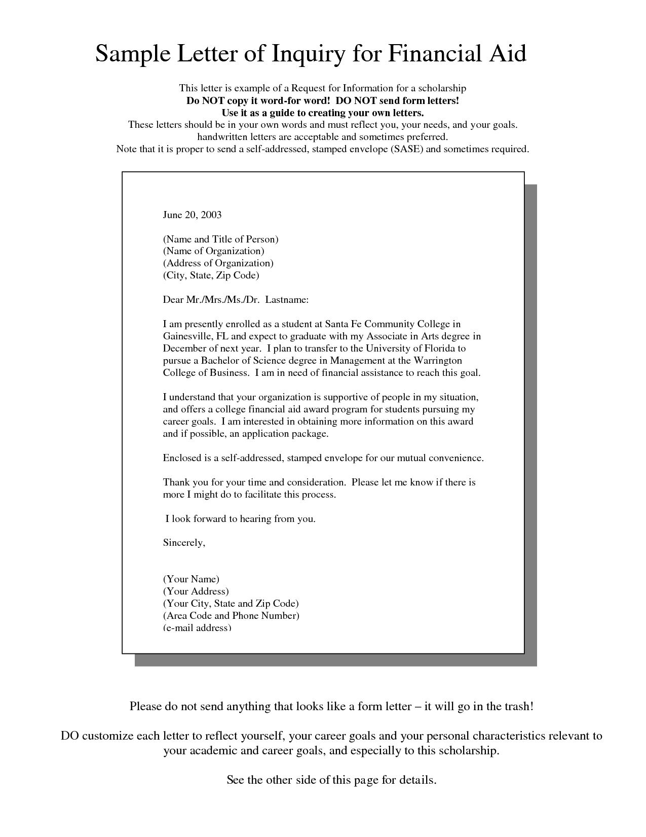 Letter Of Request For Financial Assistance Sample Templates