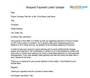 LETTER OF REQUEST FOR PAYMENT ~ Sample & Templates