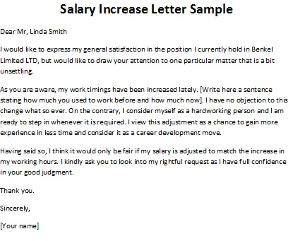 LETTER OF REQUEST FOR SALARY INCREASE Sample Templates