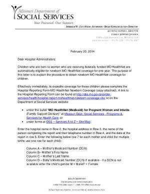 Letter Of Support For Medicaid Sample Templates