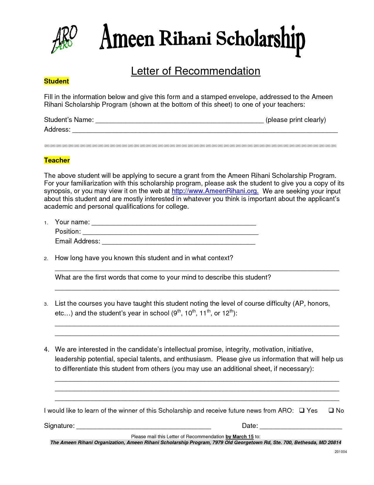 Letter Of Reference For Scholarship Sample Templates