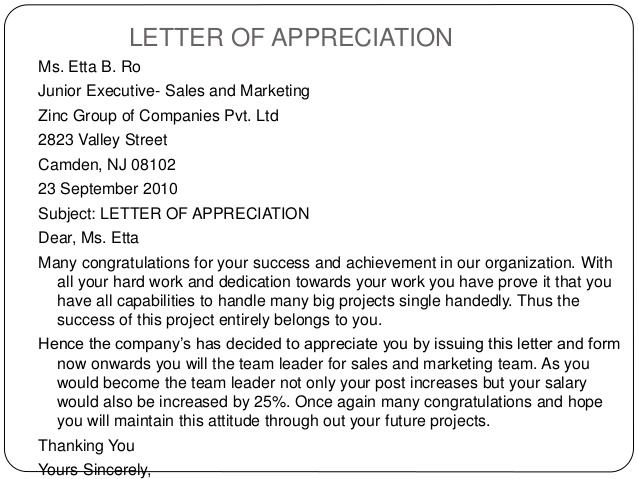Appreciation letters to employees samples business letters thank you letter spiritdancerdesigns Images