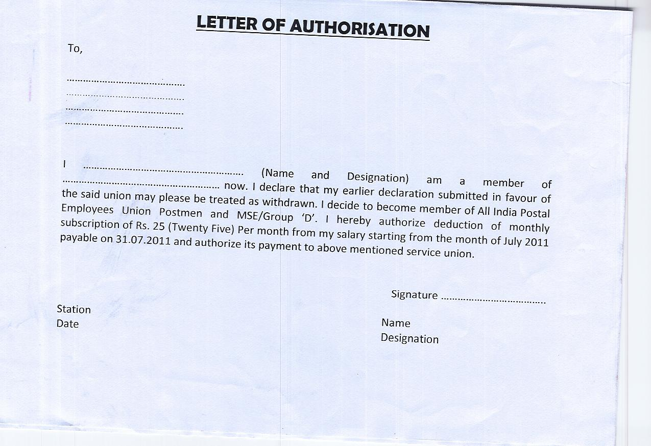Letter Of Authorization To Collect Money Sample Templates