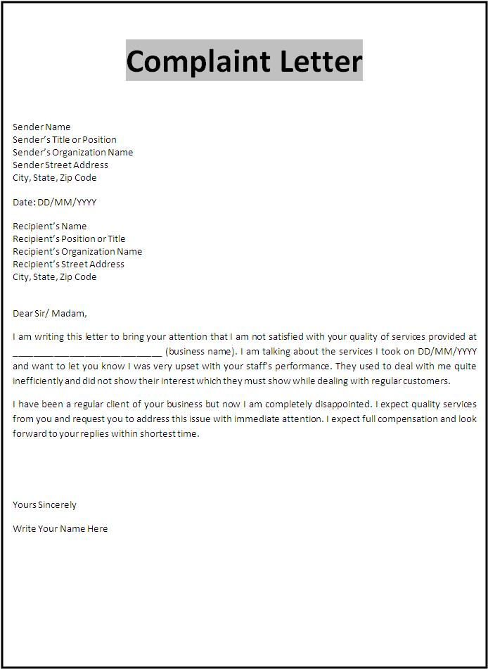 Letter Of Complaint To Employer Sample Amp Templates