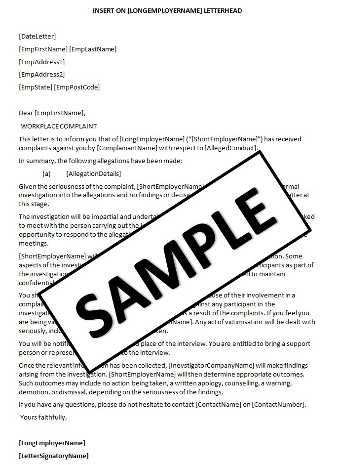Sample Letter Of Complaint To Employer About Employee Cover – Sample Employee Complaint Letter