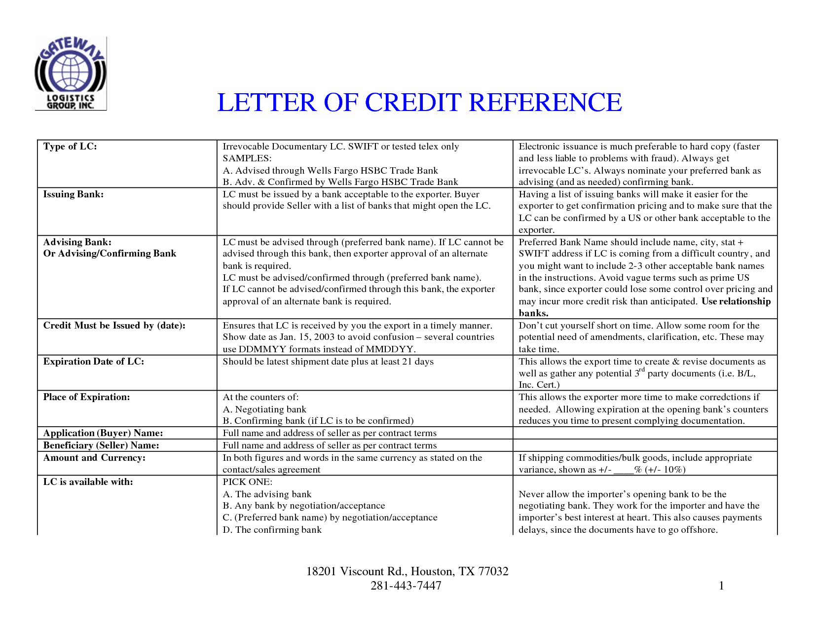 Letter Of Credit Reference  Sample  Templates