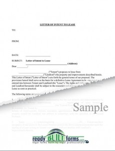 letter of intent to lease sample templates