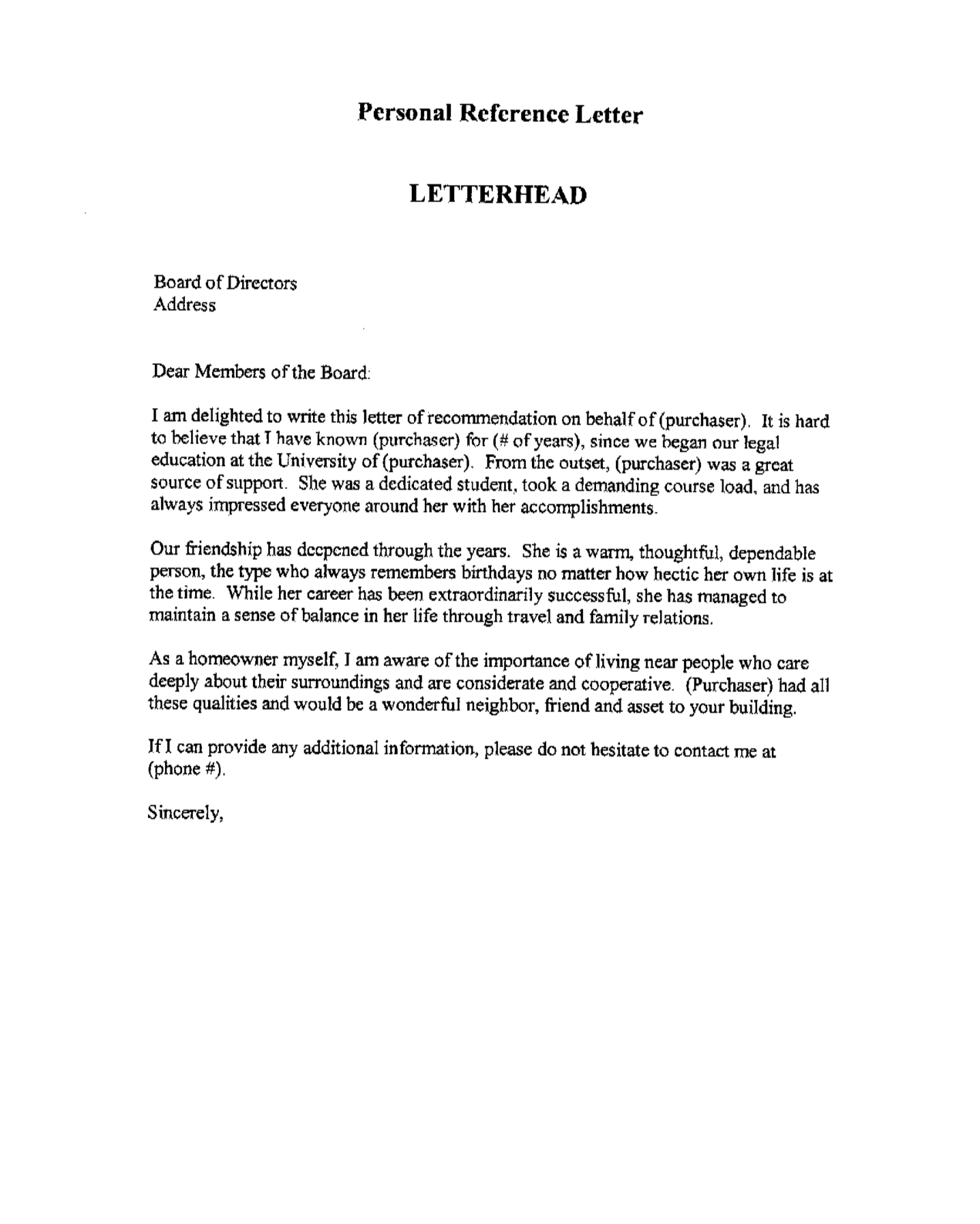 Letter Of Recommendation For Us Permanent Residency