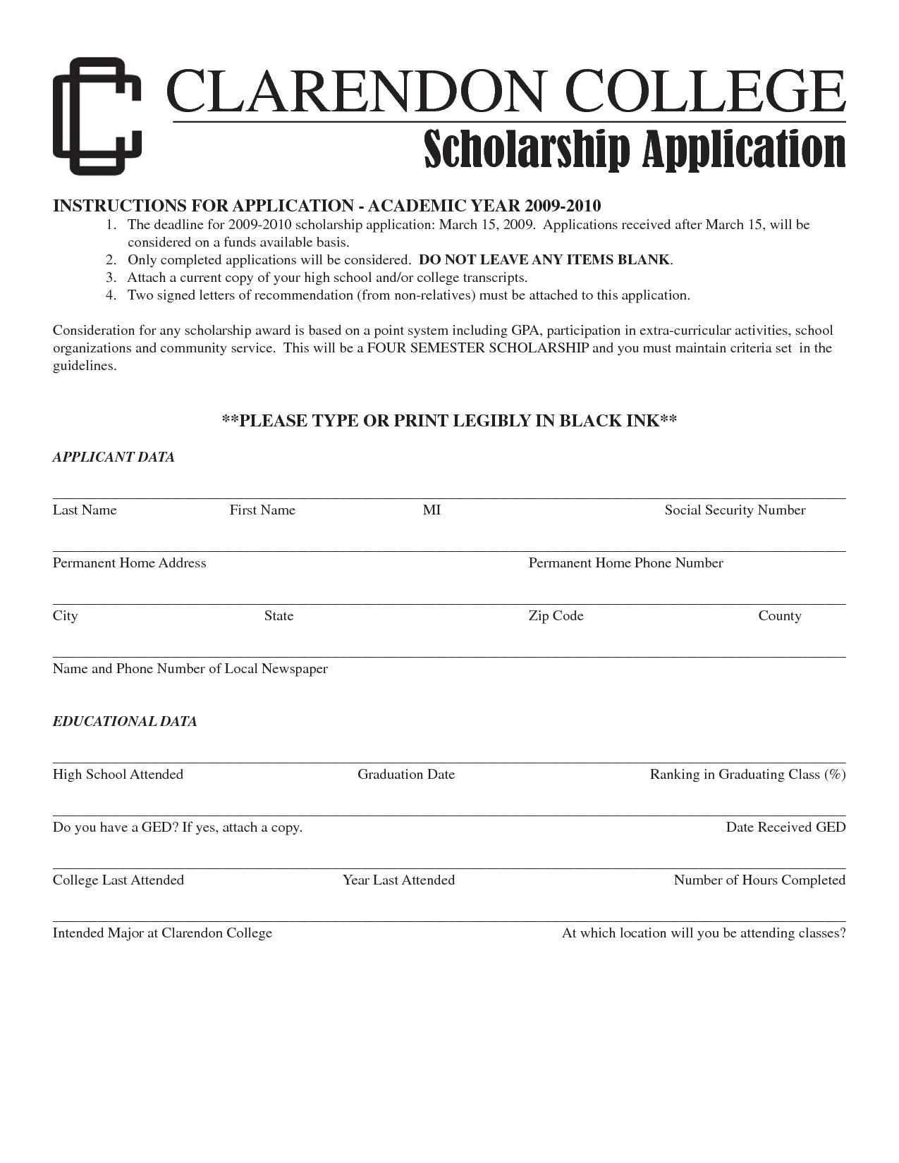 Sample Scholarship Application Letter from www.sampleletter1.com