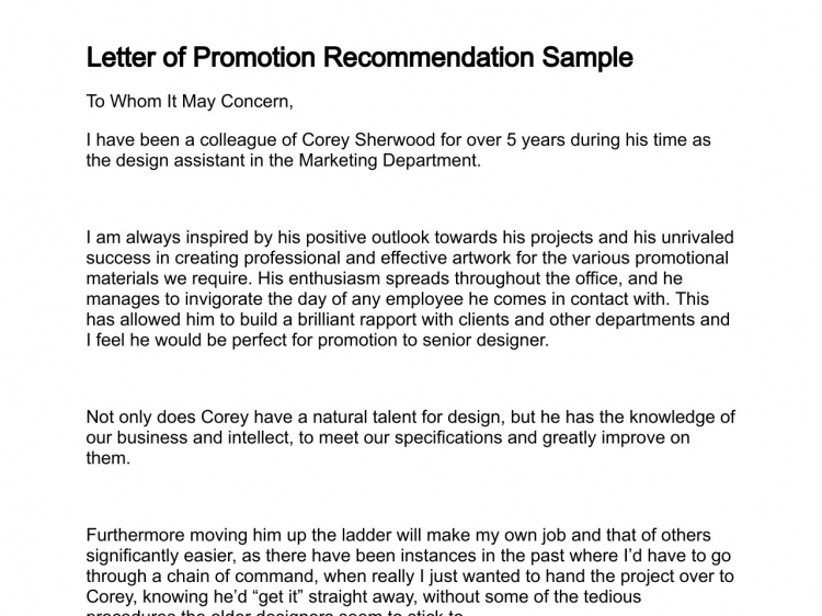 Promotion Recommendation Letter Example from www.sampleletter1.com