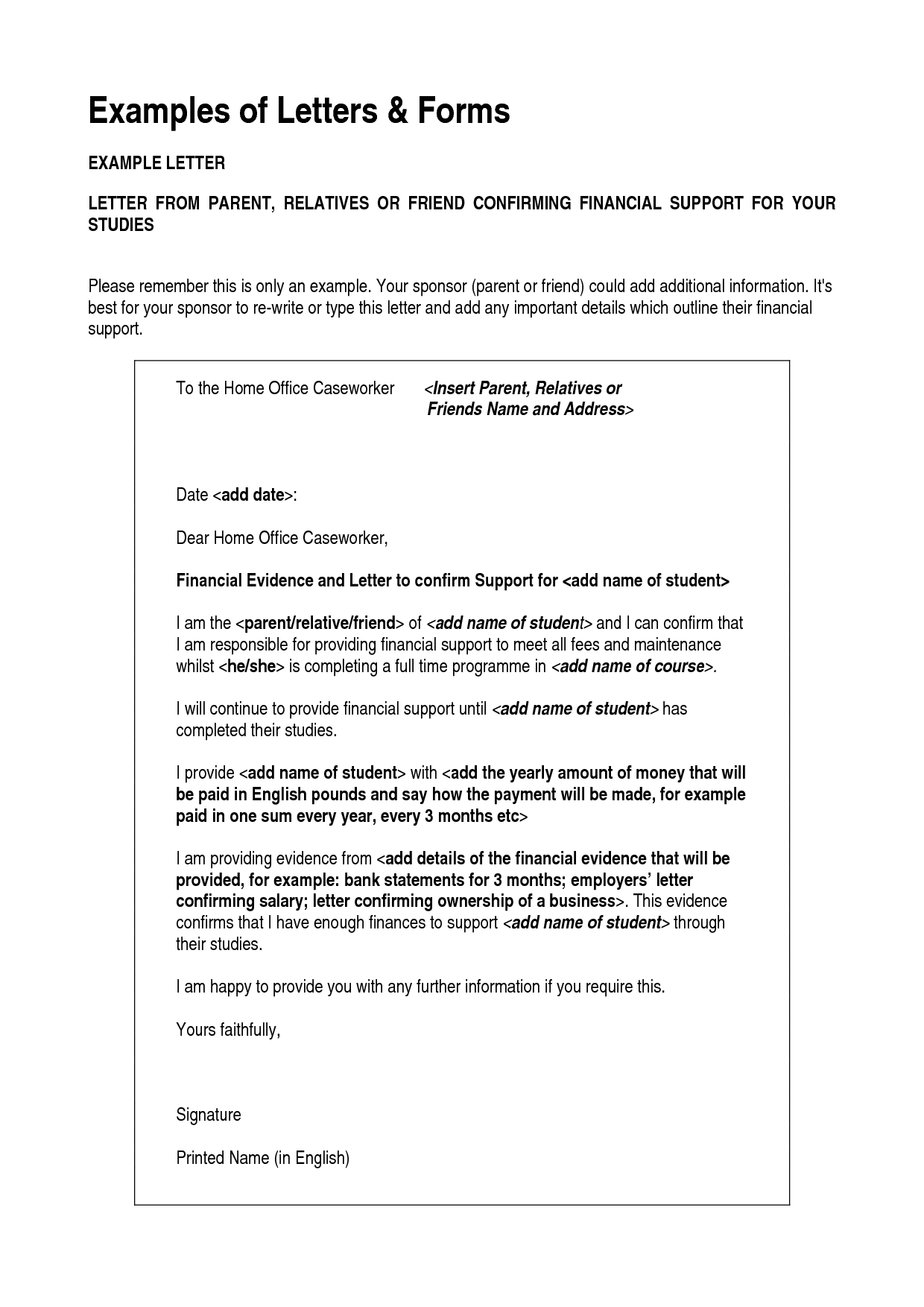 Letter Of Support Example from www.sampleletter1.com