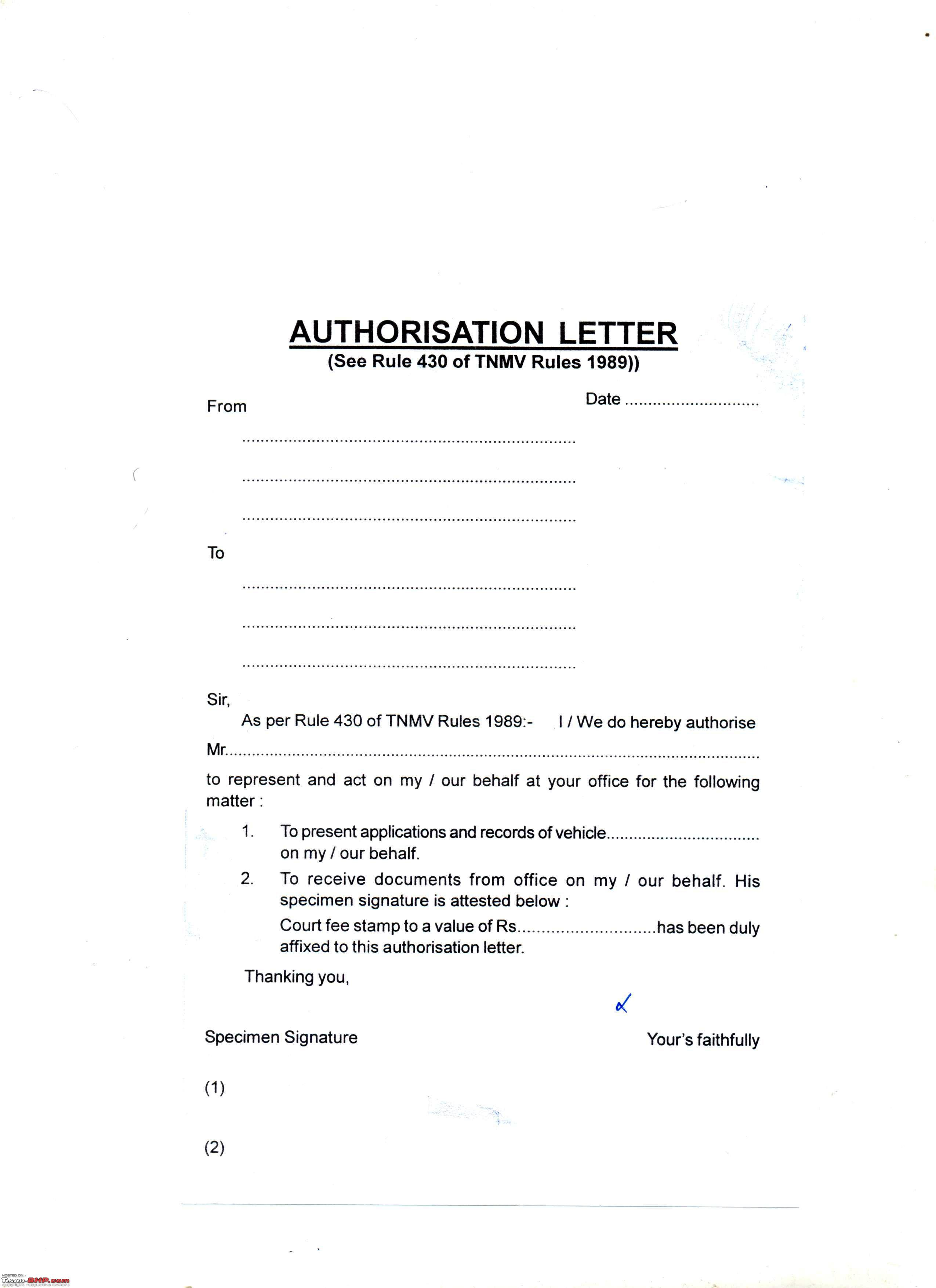 LETTER OF AUTHORIZATION TO DRIVE CAR ~ Sample & Templates