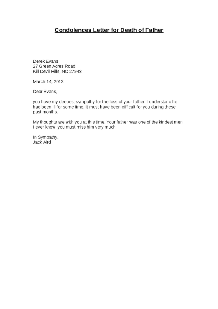 Letter Of Condolence To A Business Associate Sample Templates
