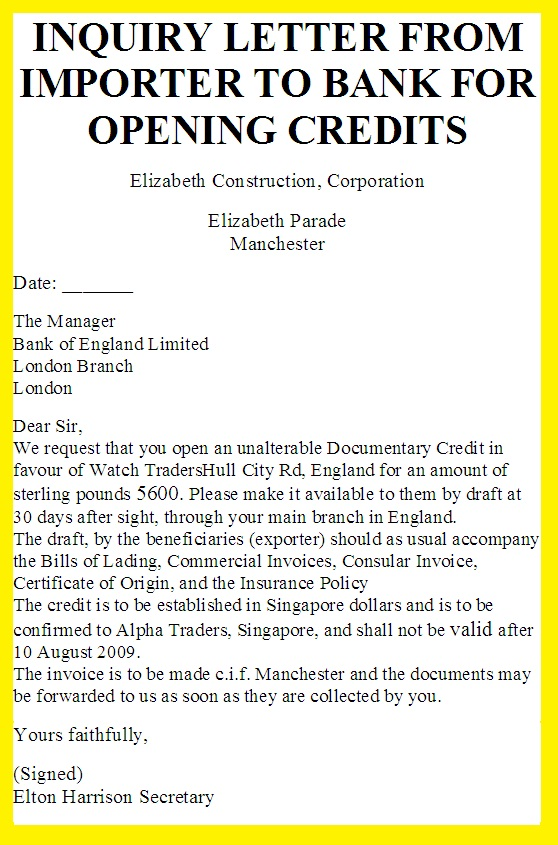 Credit Inquiry Letter Letter Idea 2018