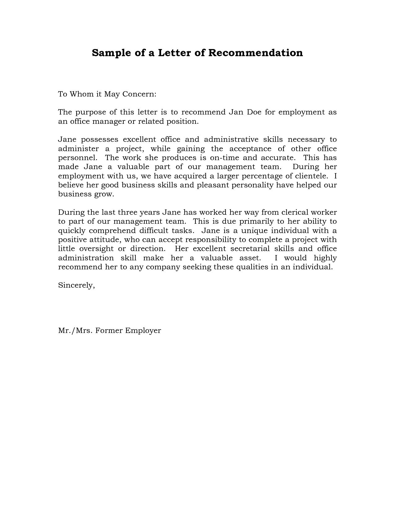 sample reference letter letter of recommendation examples sample amp templates 10336
