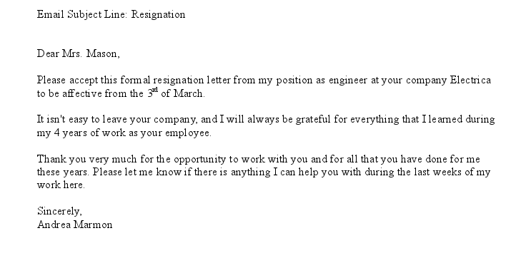 letter of resignation email letter of resignation email sample amp templates 23073